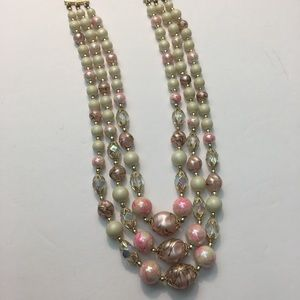 Vintage pink white bead multi strand necklace